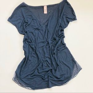 VICTORIA SECRET Navy T-Shirt with Sheer Polka Dot
